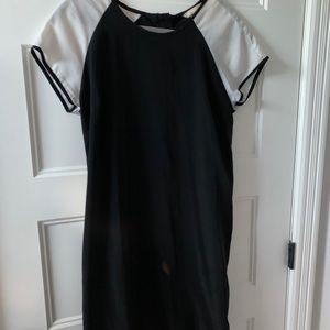 Club Monaco polyester black and white slip dress